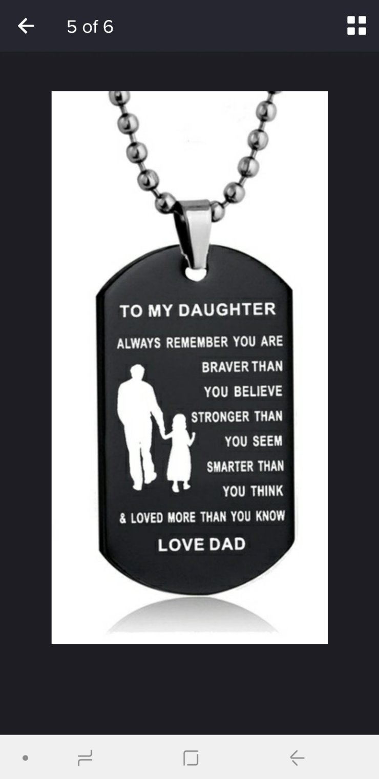 Father to Son or Daughter Dog Tag 20 inch Necklace Military