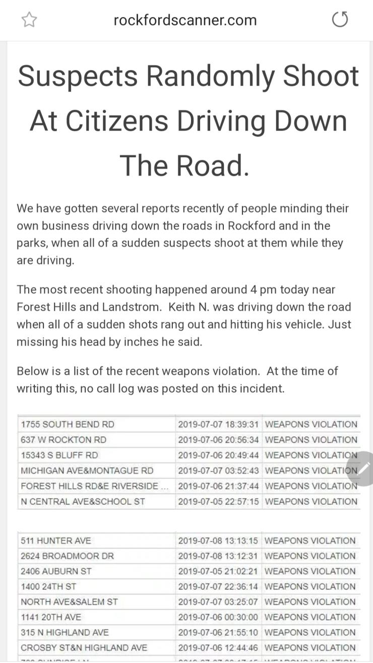 Rockford Scanner™: | Rockford Scanner Suspect shoots at random